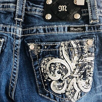 Miss Me Jeans Fleur De Lis Bling Embellish Bootcut Blue Med Wash Women's Sz 26