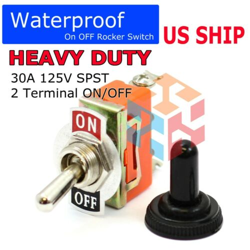 Toggle Switch Heavy Duty 15A 125V SPST 2 Terminal ON/OFF Car WATERPROOF ATV USA