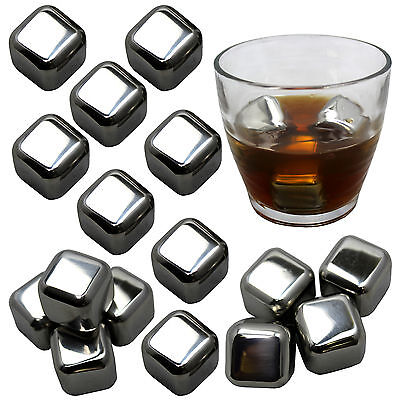16PC FREESH Stainless Steel Ice Cubes Chilling Stones Whiskey Rocks Reusable NEW