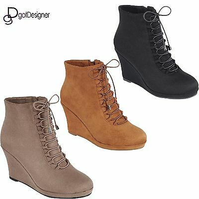 NEW Womens Ankle Boots Fashion Bootie Shoes Lace Up Wedge Pump Comfort All (Ankle Boot Pump)