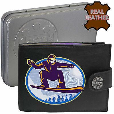Snow Boarder Board Klassek Leather Wallet Skiing Wintersport Gift present Tin