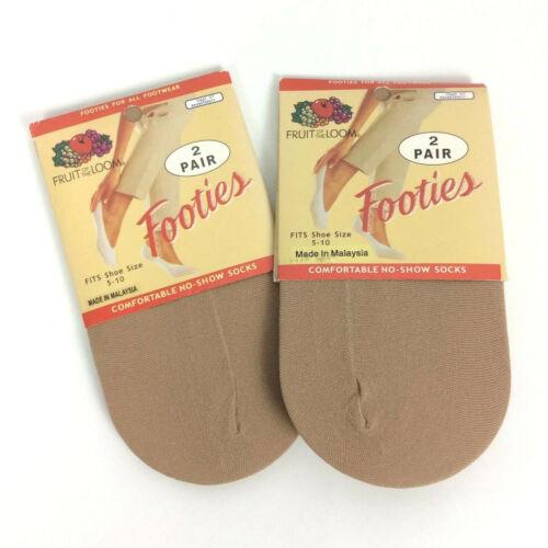 Fruit of the Loom Footies Low Cut No Show Socks Beige Lot of 2 Packages