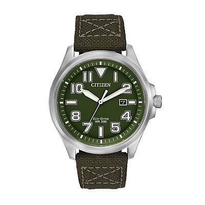 Citizen Eco-Drive Men's AW1410-16X Green Nylon Band Military 44mm Watch