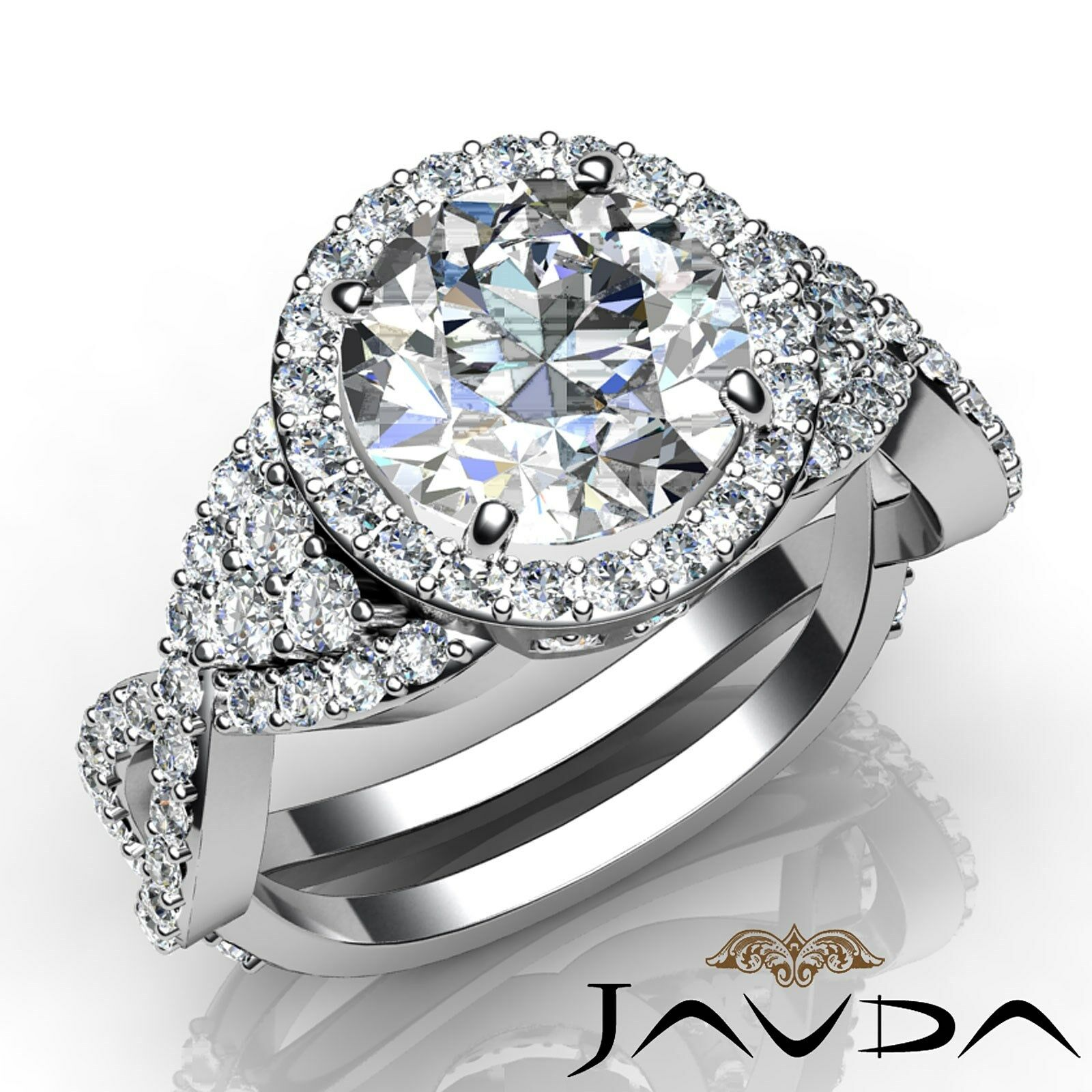 Cross Shank Halo Pave Round Diamond Engagement Ring GIA Certified F VS2 3.16 Ct