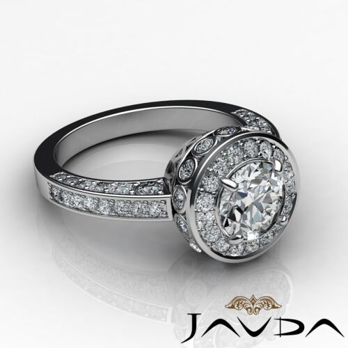 1.7ct Round Halo Pave Diamond Engagement Elegant Ring GIA F VVS2 Platinum 950 2