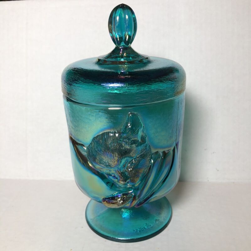 """FENTON TEAL CARNIVAL IRIDESCENT GLASS """"CHESSIE"""" CAT CANDY BOX JAR WITH LID"""