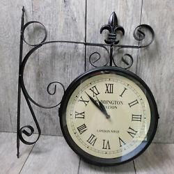 Large Paddington Station Black Clock Dual Face Antique Fleur Vintage 15 x 17