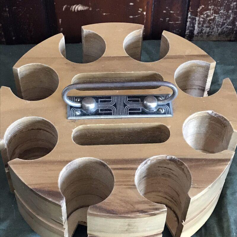 Vintage Poker Chip Caddy Carousel Wood Holder Wooden Art Deco MCM Case