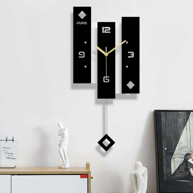 3D Silent Swing Wall Clock Acrylic Metal Painted Pointer Watch Decor Living Room