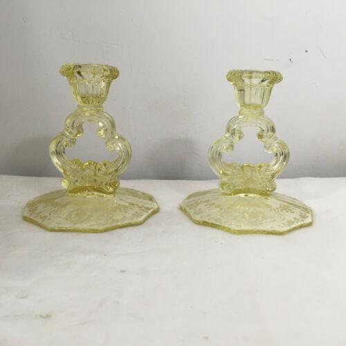 Vintage Cambridge Decagon Gold Krystol Keyhole Candlesticks Diane  Etch - Pair