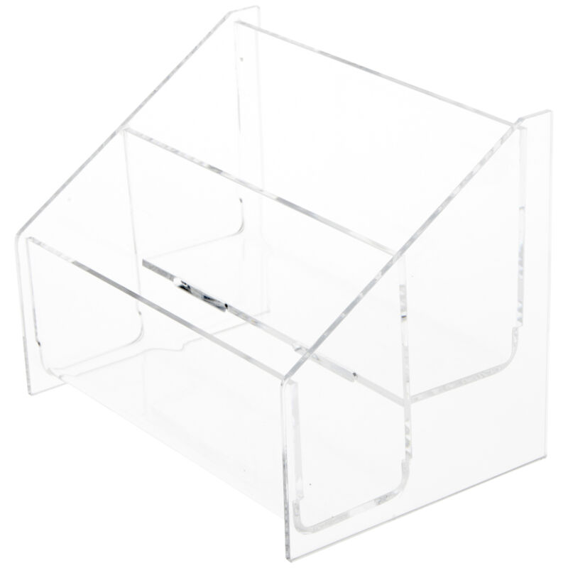 """Plymor Acrylic 2-Level Postcard Rack (Countertop), For 5.8"""" x 4.1"""" Items(3 Pack)"""