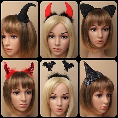 Halloween Bopper Headbands (HALLOWEEN PARTY HEADBAND BAT BOPPER WITCH HAT ALICE BANDS DEVIL HORN FANCY)