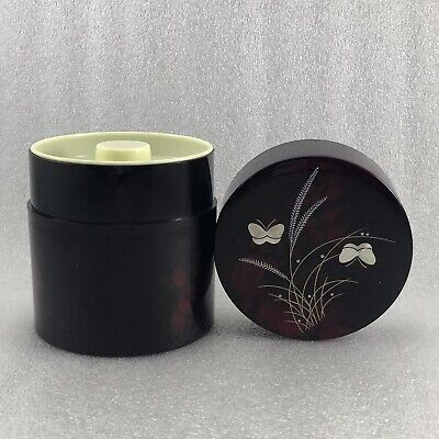 JB8 Japanese Lacquer Plastc Tea Caddy / Tea Container Butterflies Glaze