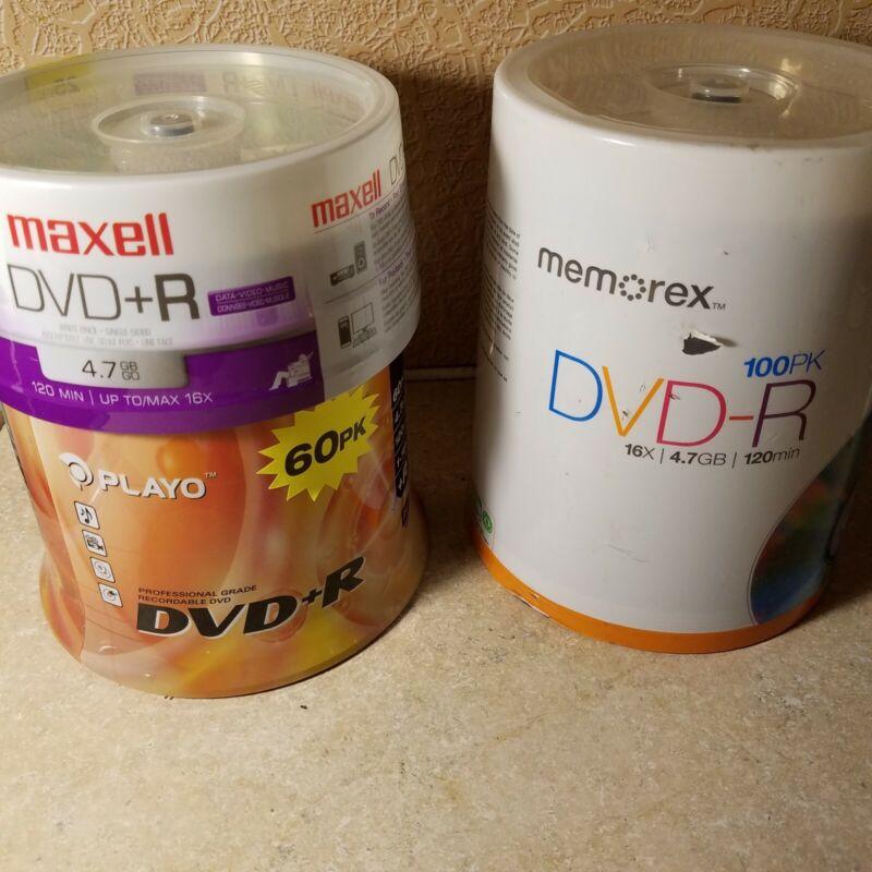185 Disc Memorex 100 PkDVD-R 16x 4.7GB 120 min Maxell 25 Pack DVD+R, Playo 60 Pk