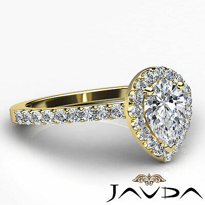 Halo Pear Diamond Engagement French U Pave Set Wedding Ring GIA H Color VVS2 1Ct 9