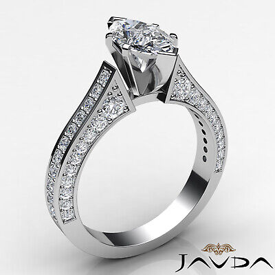 Micro Pave Set Marquise Diamond Engagement Ring GIA Certified I Color SI1 2 Ct 1