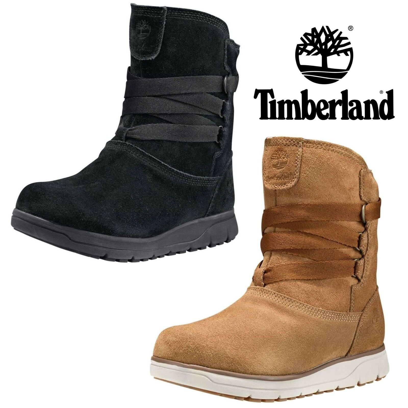 NEW Timberland Women Leighland Pull On Insulated Waterproof Winter Suede Boots
