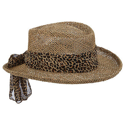 Ladies Scala Natural Twisted Seagrass Gambler Hat One Size LS106 Seagrass Gambler Hat