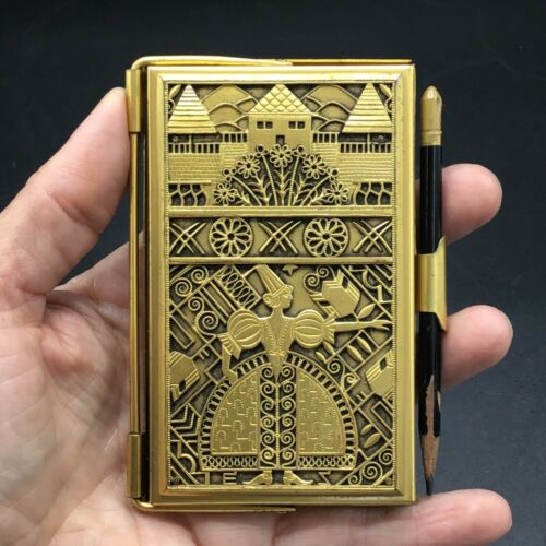"German Art Deco gilt brass ""Carnet de bal"" / notebook"