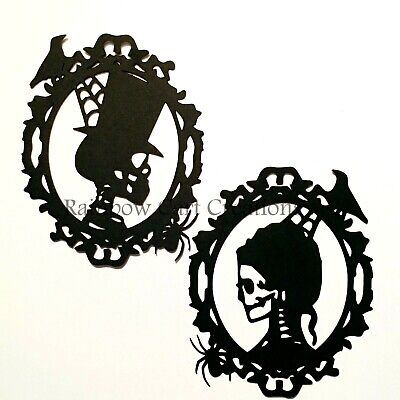 Halloween Skeleton Silhouette (4-12 Halloween Skeleton Him Her Die-Cuts Embellishments Silhouette Cutout)