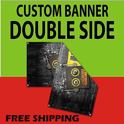 2 X 3 Double Sided Print 15 Oz Full Color Custom Bannerfree Shipping
