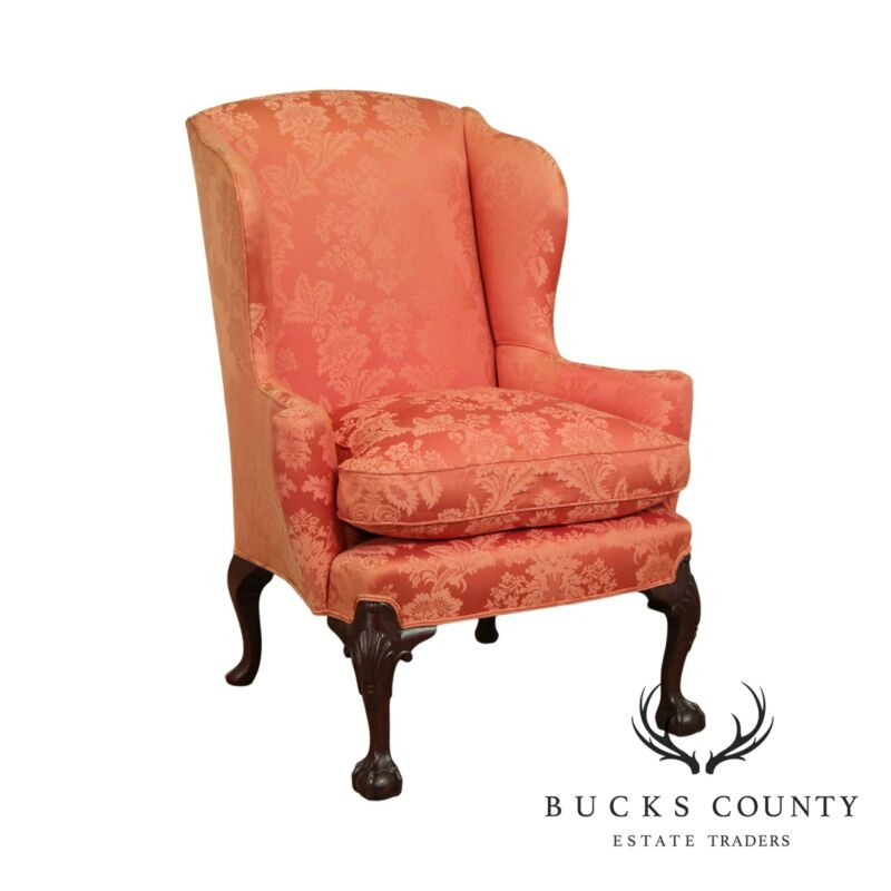 Chippendale Style Custom Quality Mahogany Ball & Claw Wing Chair
