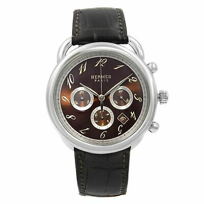 Hermes Arceau Chronograph Steel Brown Dial Automatic Mens Watch AR4.910
