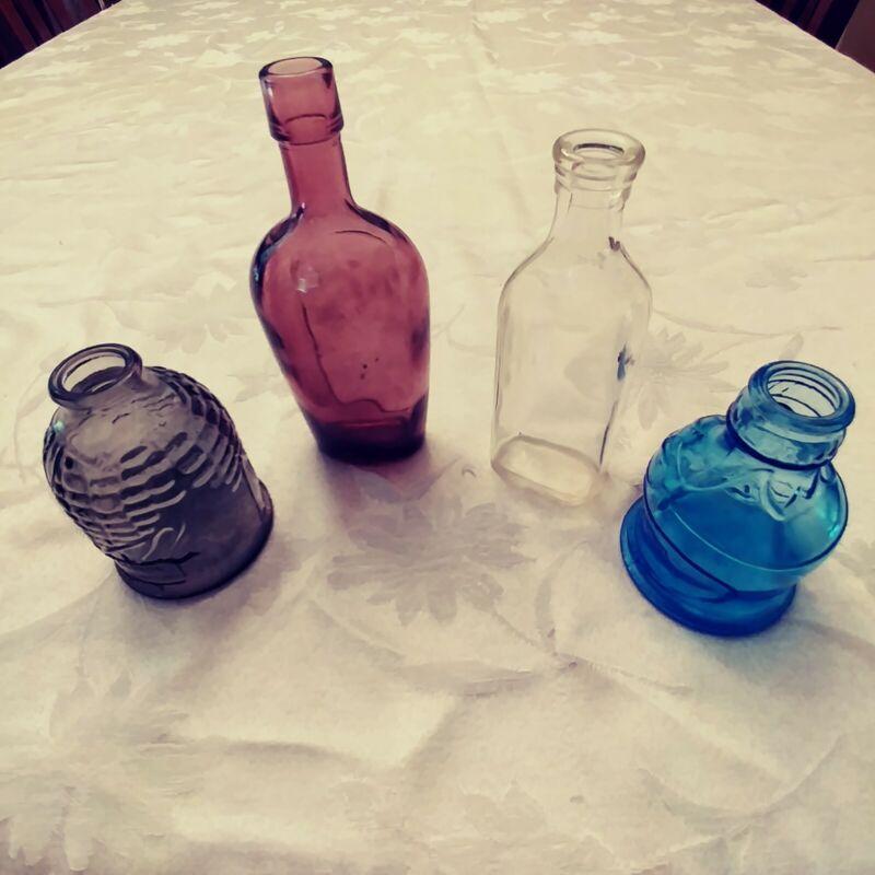Lot Of 4 Vintage Miniature Bottles 2 Wheaton