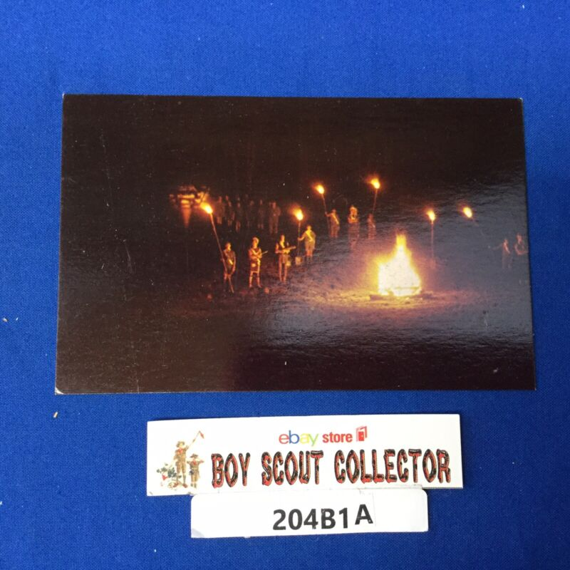 Boy Scout Camp Postcard Order Of The Arrow Tap Out Ceremony