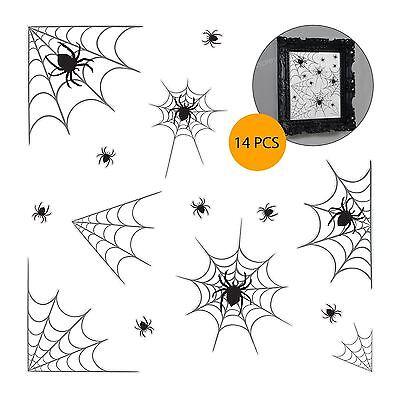14 Stück Spinnennetz Halloween Party Dekoration Vinyl Aufkleber Spiegel Fenster ()