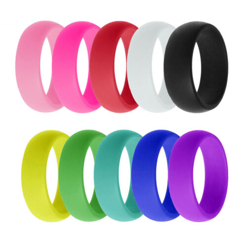 10Pack Silicone Wedding Engagement Ring Men Women Rubber Ban
