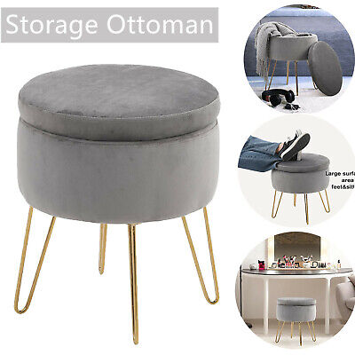 Storage Ottoman Stools with Removable Lid Tufted Vanity Dressing Chair Footrest