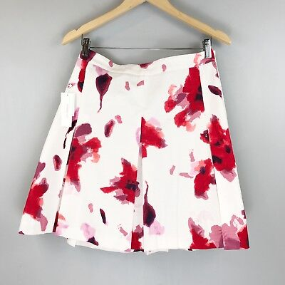 NWT DALIA Pleated Floral Mini Skirt SZ 14 A-Line Modern Fit White Pink Romantic