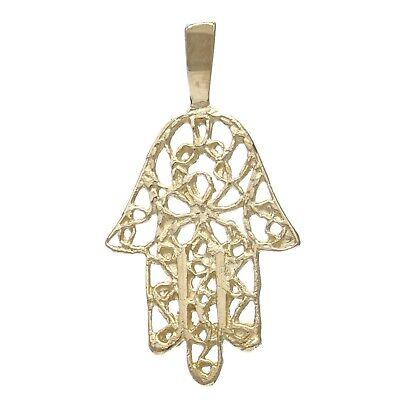 14k Yellow Gold Hamsa Hand Of Fatima Charm Pendant 0.8g