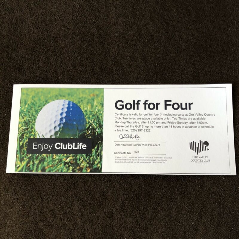 Golf Foursome Gift Certificate - ORO VALLEY COUNTRY CLUB - TUCSON, ARIZONA