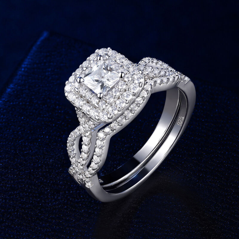 Wedding Engagement Ring Set For Women 1.3ct Princess 925 Sterling Silver Aaaa Cz