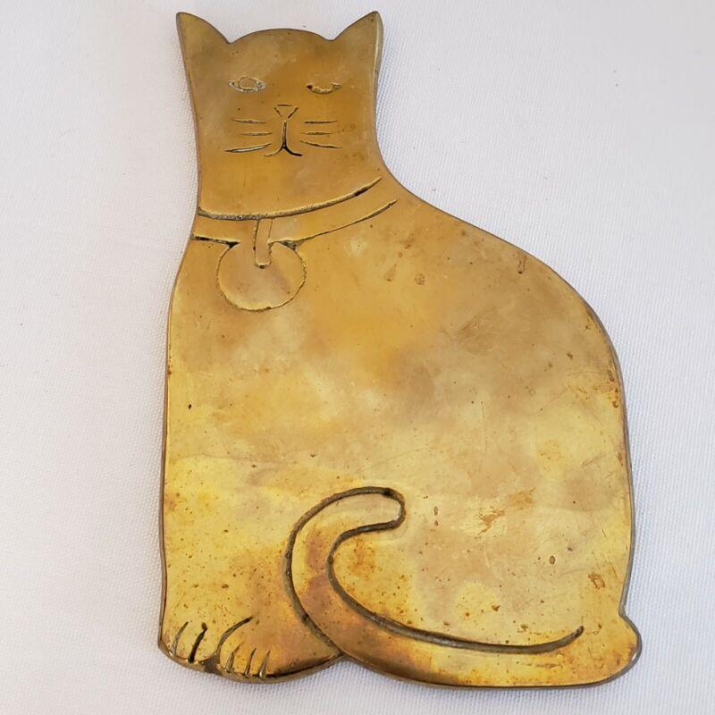 Vintage Brass Cat Trivet