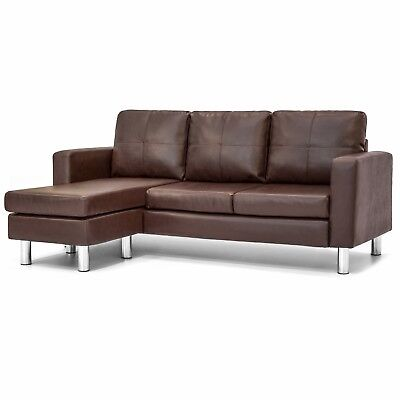 Brown Leather Chaise - Leather L-Shape Sectional Sofa Couch w/ Reversible Chaise Ottoman - Brown
