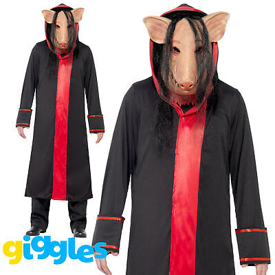 Mens Saw Pig Costume + Mask Scary Evil Movie Halloween Fancy Dress Outfit