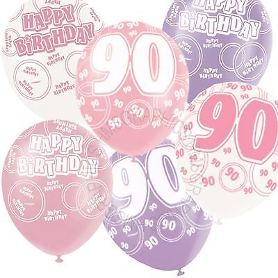 12 Happy 90th Birthday Pink,Lilac,White Helium Balloons,Party,Venue Decorations](Happy 90th Birthday Decorations)