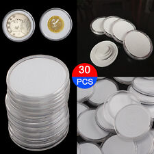 30X 46mm Coin DISPLAY Cases Capsules Holder Clear Plastic Round Storage Box UK