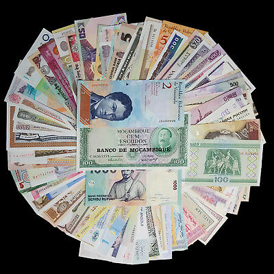 Lot 100 Pieces (PCS) Different MIX World notes From 50 Foreign Countries, UNC