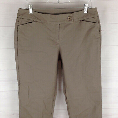 Ann Taylor womens size 10 stretch taupe gray flat front cuffed tapered pants