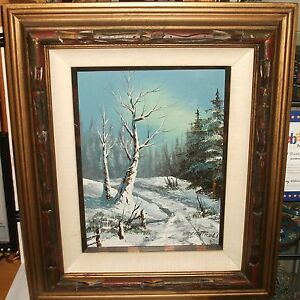 CANTRELL-ORIGINAL-OIL-ON-CANVAS-WINTER-SNOW-LANDSCAPE-PAINTING