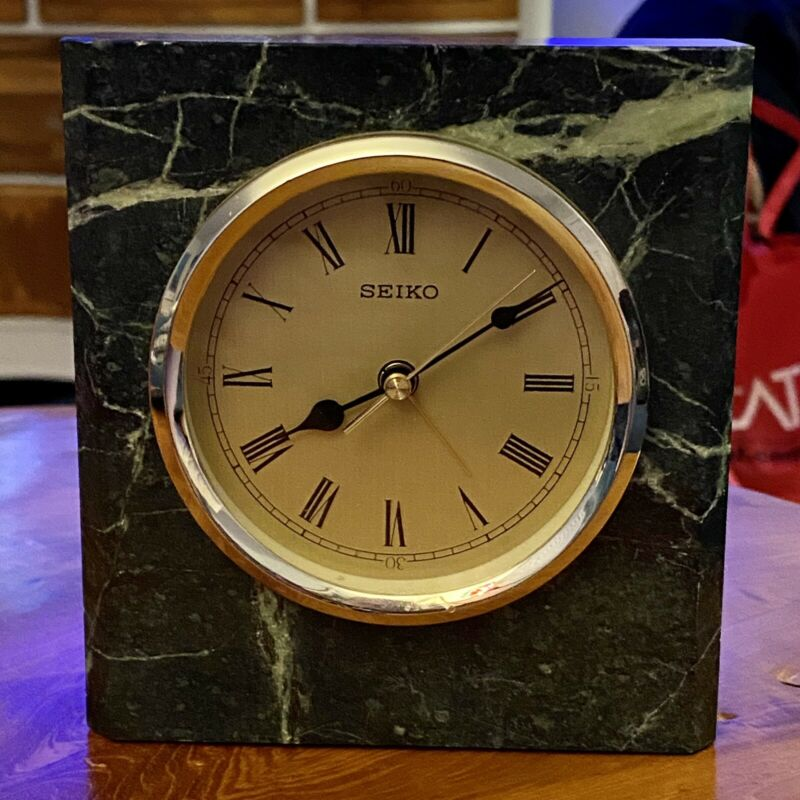 Seiko Desk Or Mantle Clock Dark Green Marble