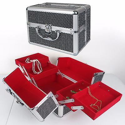 (Elegant Silver Metallic Jewelry Box Red Interior w/ Handle Lock Key 9.5