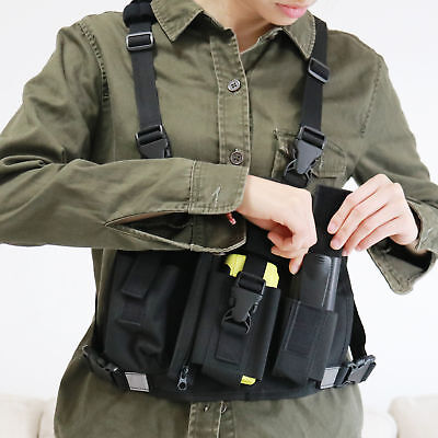 Reflective Chest Harness Bag Pack Pouch Holster Vest Rig For Motorola Radio