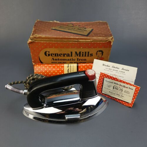 General Mills Electric Iron Model GM1A with Box Instructions & Hang Tag