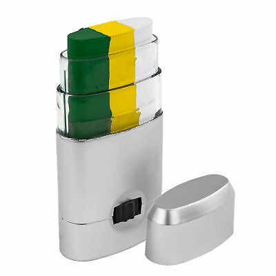 Three Color Face Paint Stick Dispenser Green Gold White Easy Apply Football Team