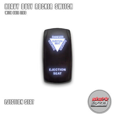 WHITE Laser Etched LED Rocker Switch Dual Light 20A 12V ON / OFF - EJECTION SEAT Double Seat White Rocker